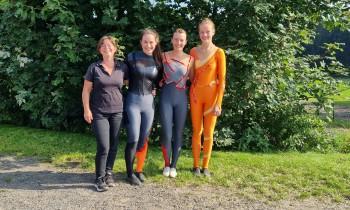 Gabi von Laufenberg und die Einzelvoltigierer Lea, Katrin und Maya